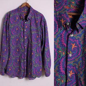Alan Flusser Shirts - Alan Flusser Bright Paisley Button Down Shirt XL